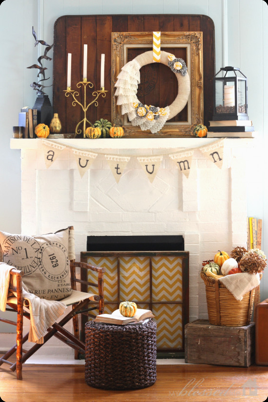 Fall Decor For Fireplace Mantel  Fall mantel decorated with reclaimed pallet wood