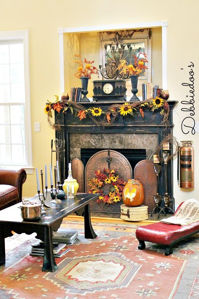 Fall Decor For Fireplace  Fall mantel 2013 Debbiedoos