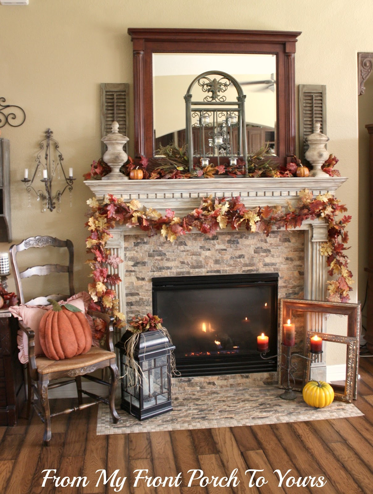 Fall Decor For Fireplace  From My Front Porch To Yours Memory Lane Fall Mantel 2012