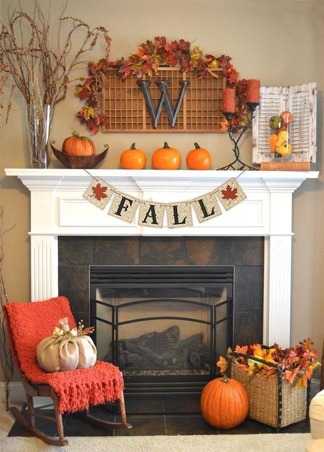 Fall Decor For Fireplace  Best 25 Fall fireplace decor ideas on Pinterest
