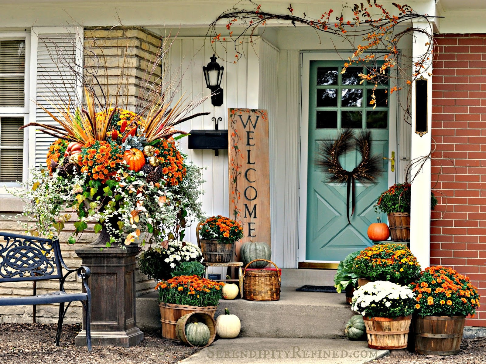 Fall Decorations Porch  Serendipity Refined Blog Fall Harvest Porch Decor with
