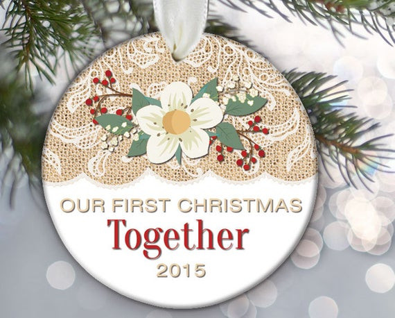 First Christmas Together Gift Ideas  Our First Christmas To her Burlap and lace Couples