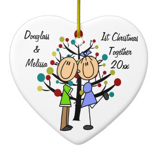 First Christmas Together Gift Ideas  Couple s 1st Christmas To her Heart Ornament