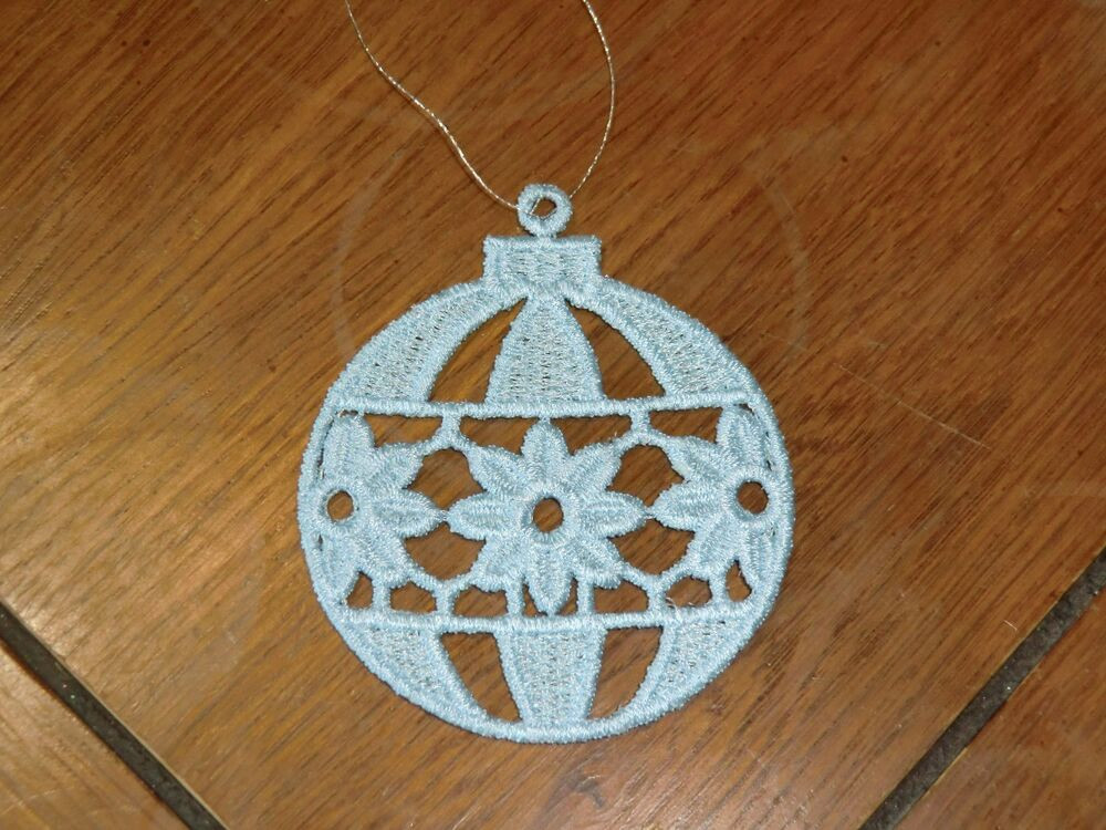 Flower Christmas Ornaments  Embroidered Ornaments Christmas Light Blue Bulb W