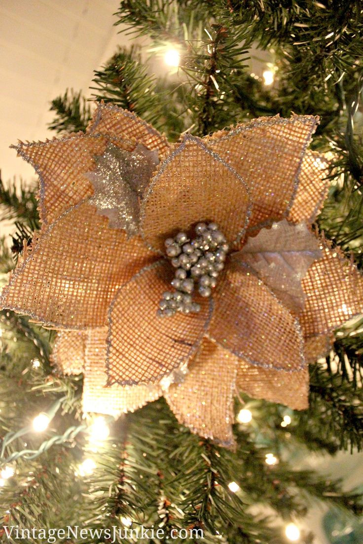 Flower Christmas Ornaments  1000 ideas about Burlap Christmas Ornaments on Pinterest
