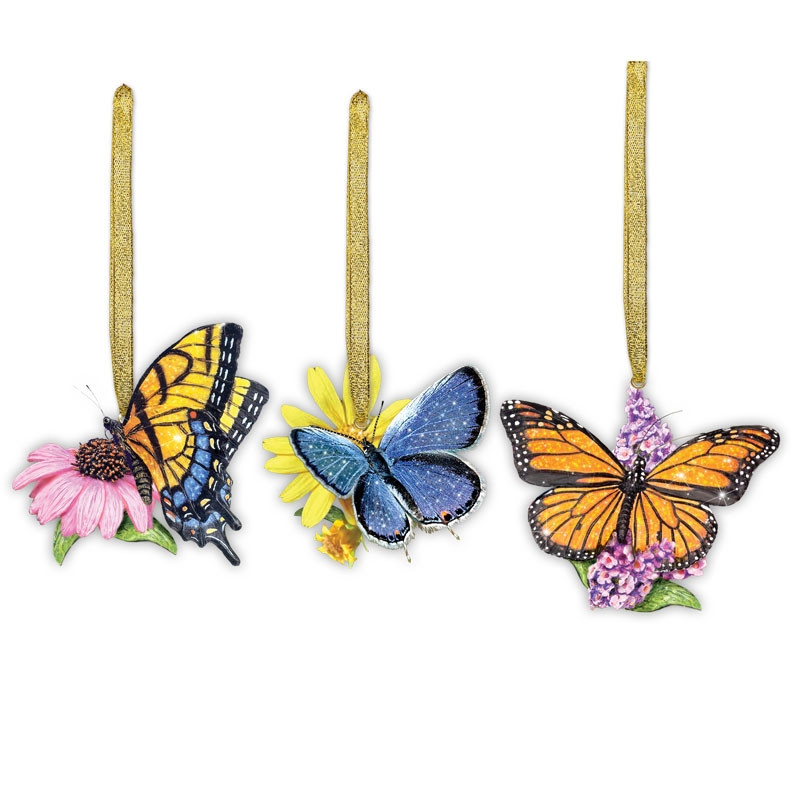 Flower Christmas Ornaments  Butterfly & Flower Christmas Ornaments