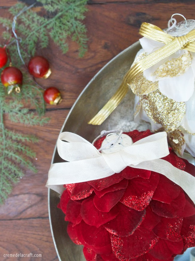 Flower Christmas Ornaments  DIY Holiday Ornaments from Silk Flowers