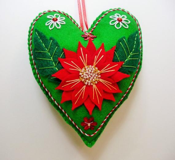 Flower Christmas Ornaments  Poinsettia Felt Heart Ornament Christmas Flower Ornament