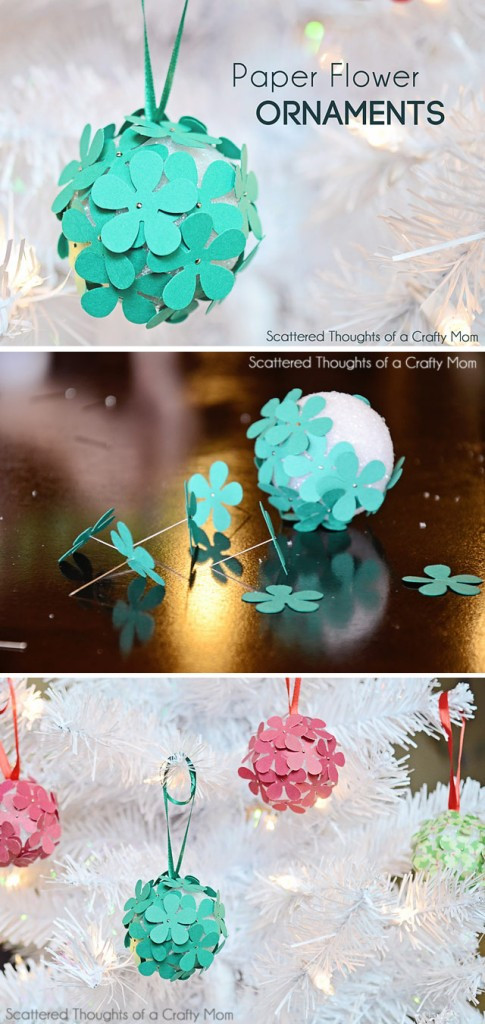 Flower Christmas Ornaments  Paper Flower Christmas Tree Ornament Craft for Kids