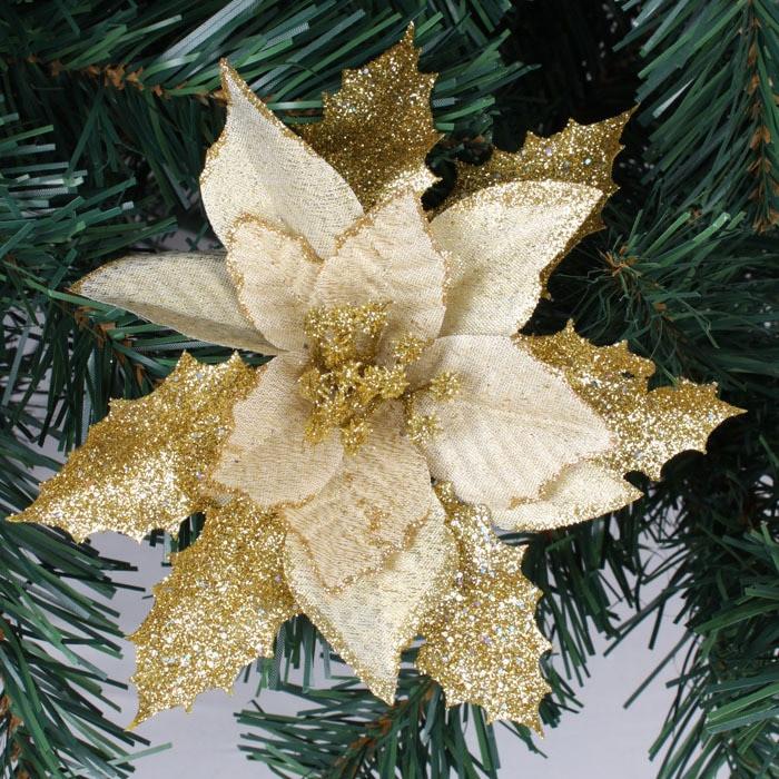 Flower Christmas Ornaments  Wholesale 10pcs lot 17cm Gold Glitter Artificial Christmas