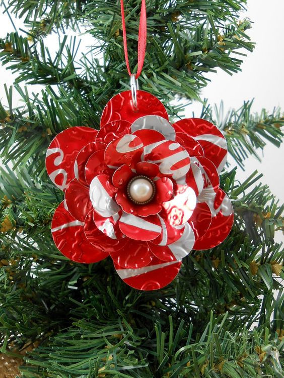 Flower Christmas Ornaments  Coca Cola Flower Christmas Ornament Recycled Soda Pop Can
