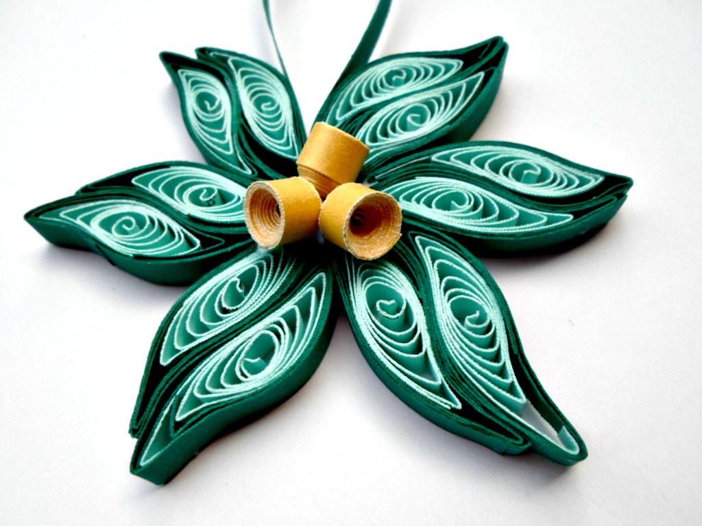 Flower Christmas Ornaments  Teal gold flower Christmas tree ornament Paper flower ornament