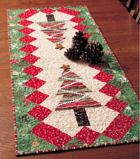 Free Christmas Table Runner Patterns  Quilted Table Tinsel Table Runner DIY Mandala Embellished