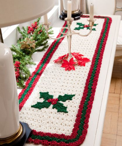 Free Christmas Table Runner Patterns  Red Heart HOLIDAY Holly Table Runner Crochet Pattern FREE