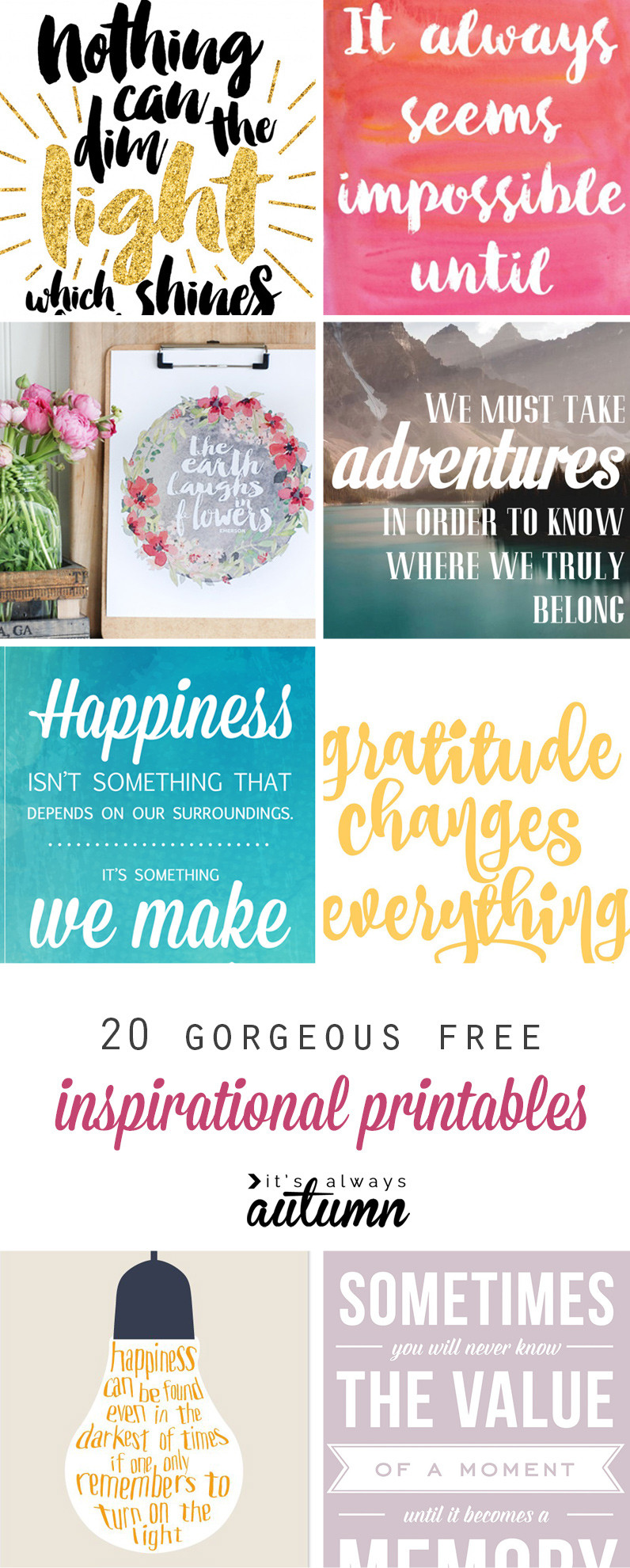 Free Motivational Quotes  20 gorgeous & modern FREE inspirational quote printables