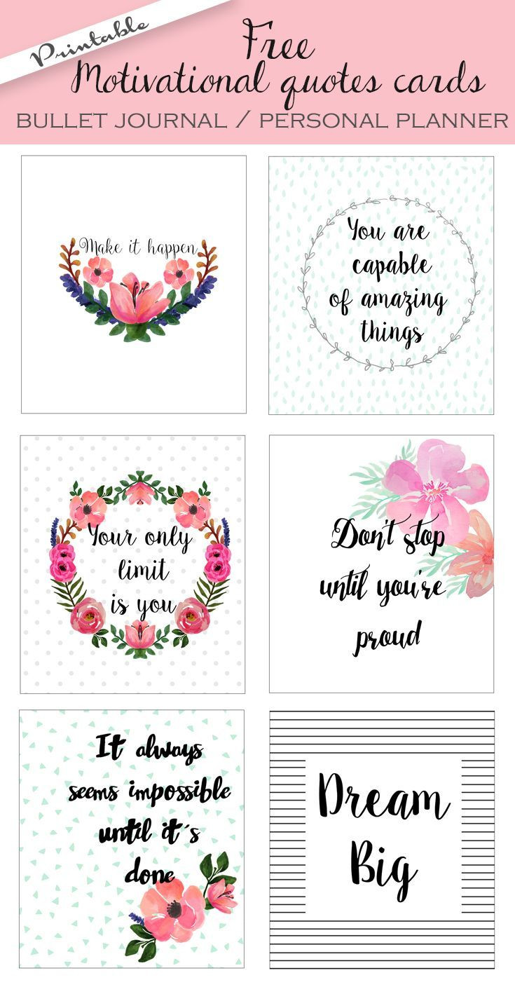 Free Motivational Quotes  Free printable bullet journal cards Personal planner