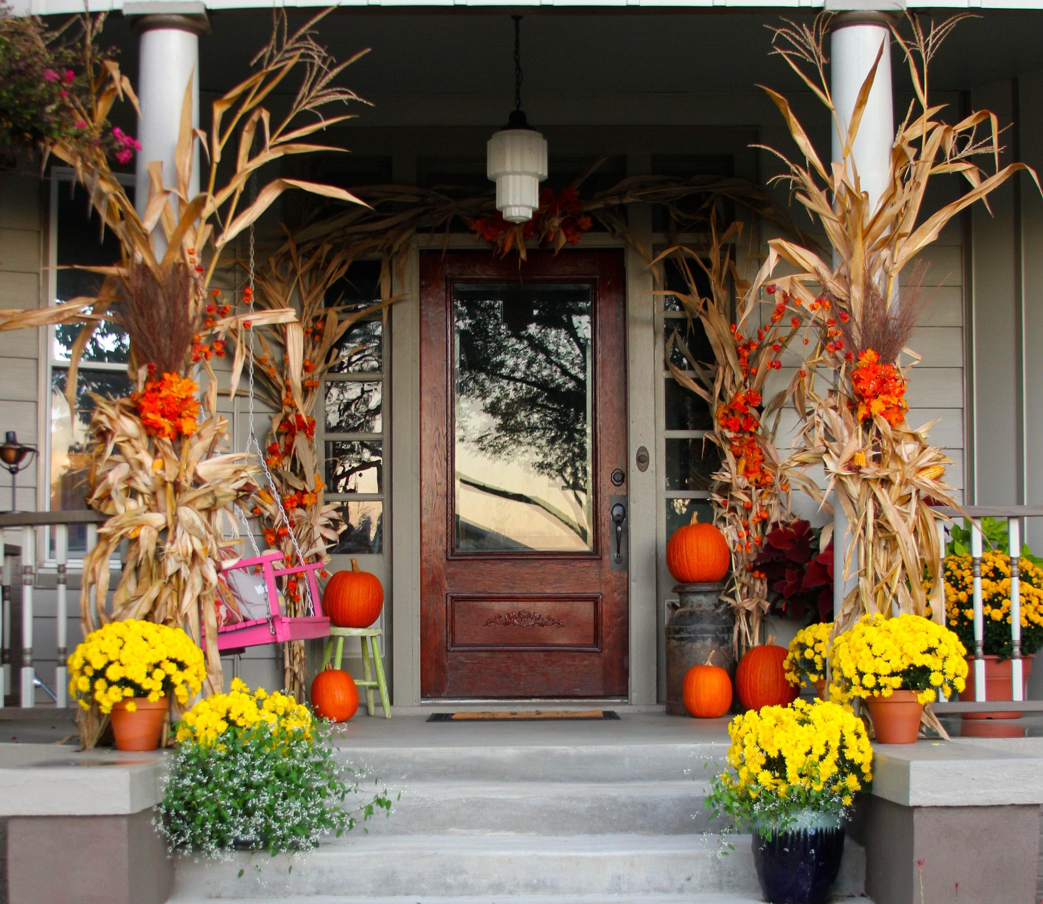 Front Porch Fall Decorating Pictures  decorating with a milk can