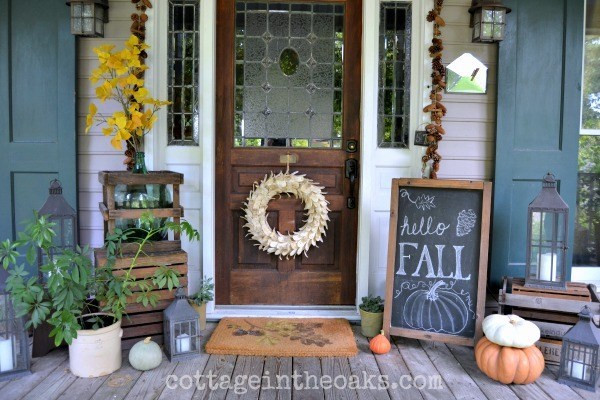Front Porch Fall Decorating Pictures  12 Lovely Fall Porches that are sure to Inspire