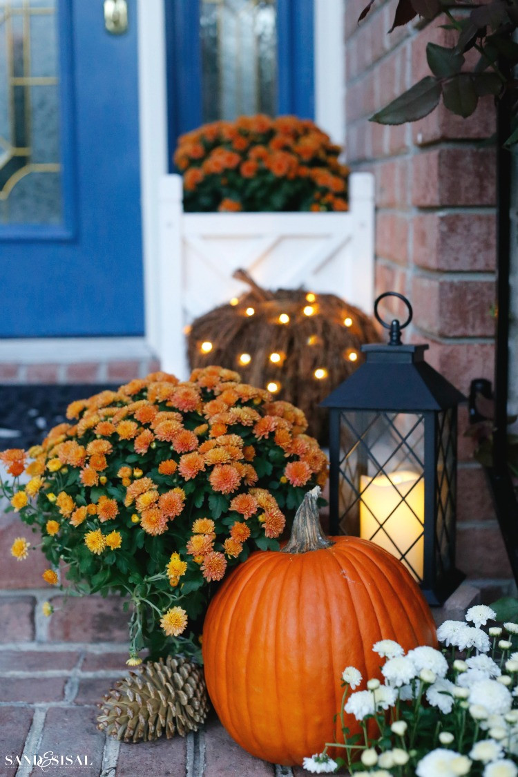 Front Porch Fall Decorating Pictures  Indigo and Orange Fall Front Porch Sand and Sisal