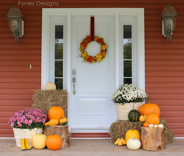Front Porch Fall Decorating Pictures  Fall Porch Decorating Ideas FYNES DESIGNS