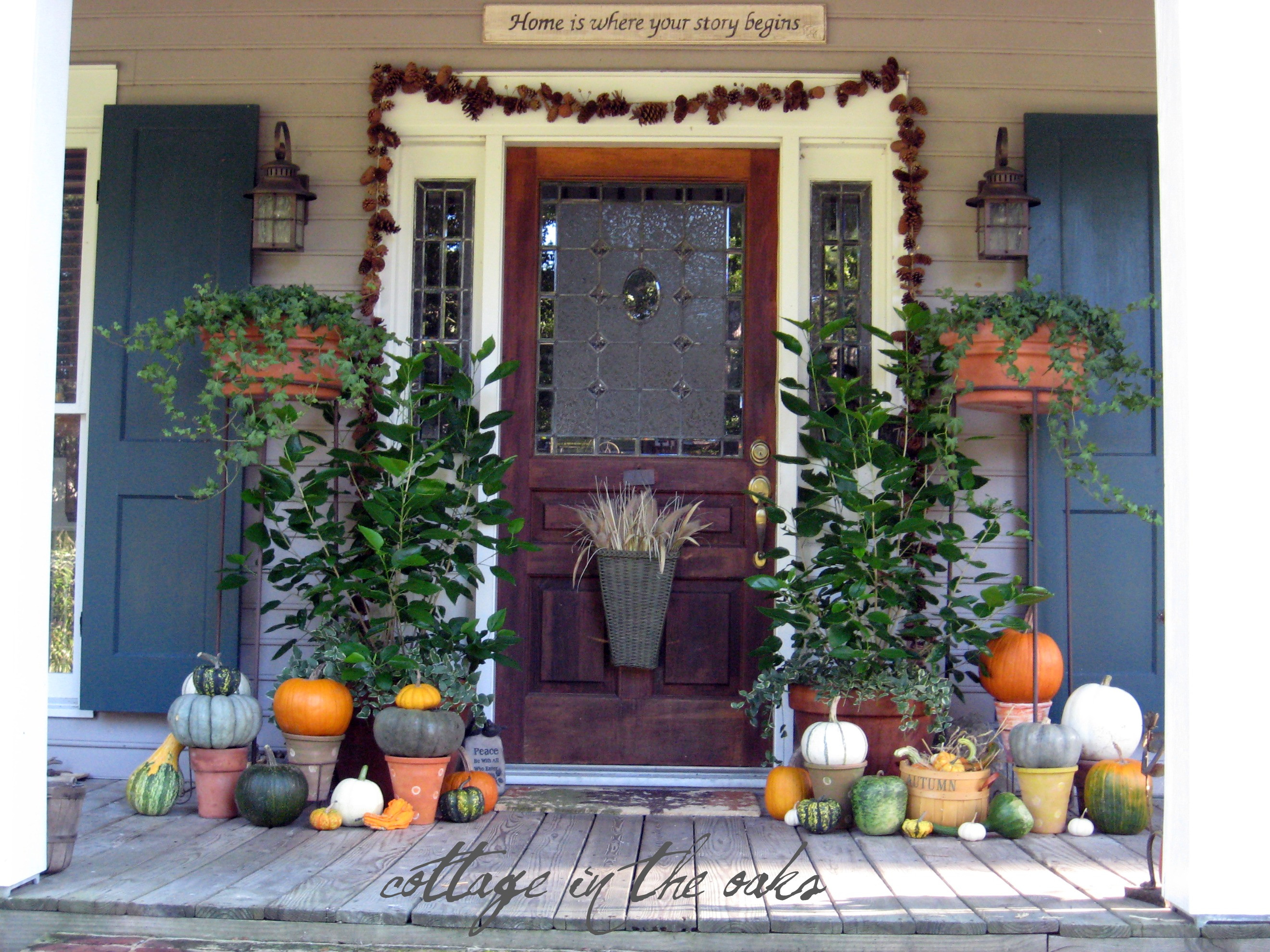 Front Porch Fall Decorations  Autumn Door Decor Cottage in the Oaks