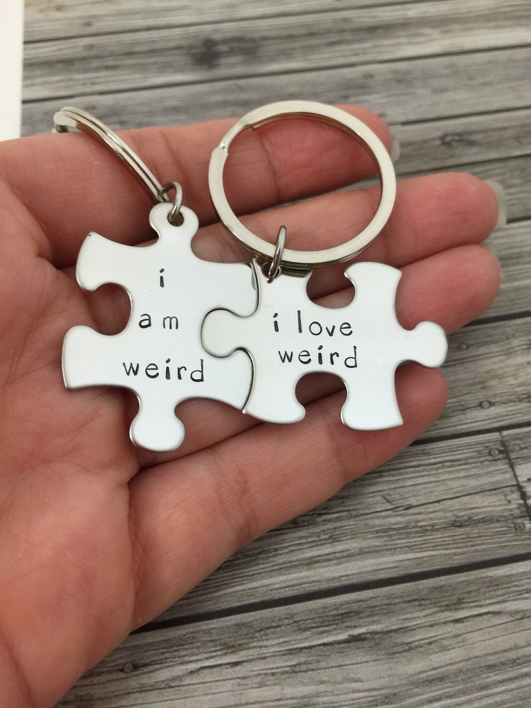 Funny Couples Gift Ideas  I am weird I love weird Couples Keychains Couples Gift