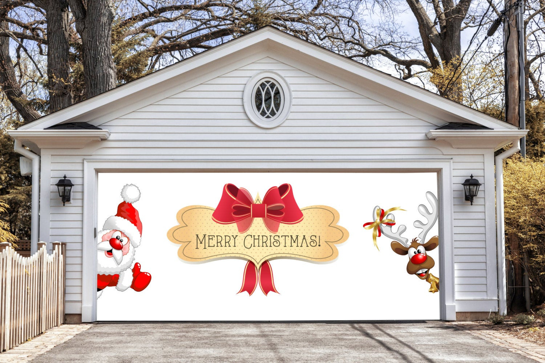 Garage Door Christmas Cover  Merry Christmas Garage Door Covers 3D Banners by DecalHouse