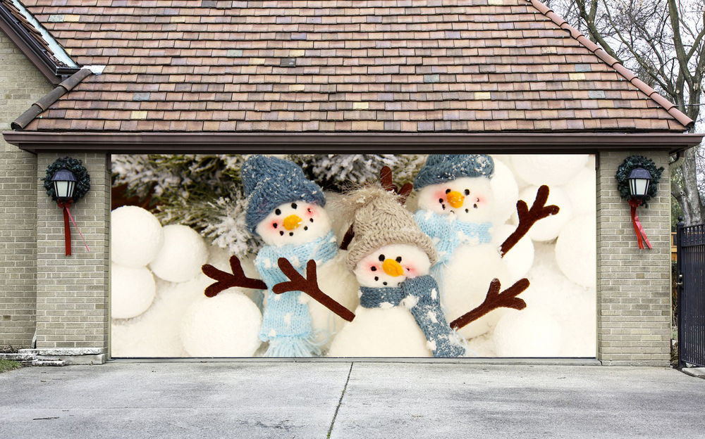 Garage Door Christmas Cover  Christmas Garage Door Covers 3D Banners Outside House