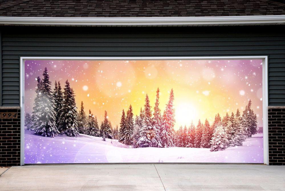 Garage Door Christmas Cover  Christmas Tree Garage Door Covers 3d Banners Outside Art