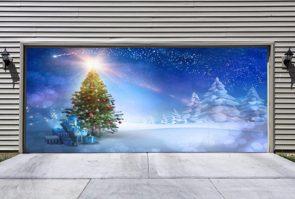 Garage Door Christmas Cover  Christmas Tree Garage Door Covers Banners Outside House