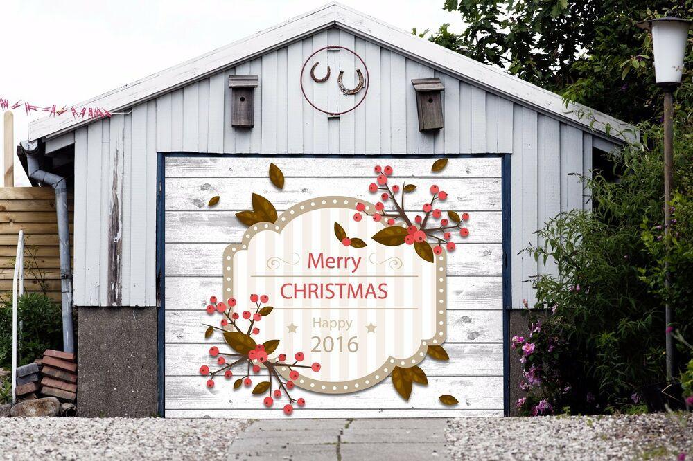 Garage Door Christmas Cover  Merry Christmas Decor Single Garage Door Covers Banner