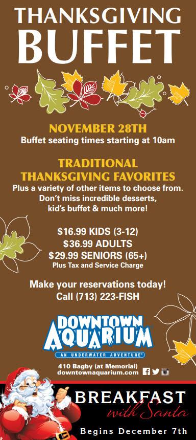Georgia Aquarium Thanksgiving  2015 Thanksgiving Buffets Houston