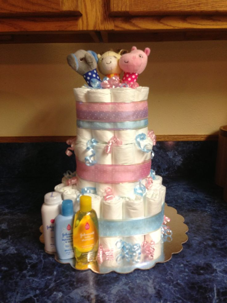 Gift Ideas For Baby Reveal Party  Gender reveal diaper cake Gift Ideas Pinterest