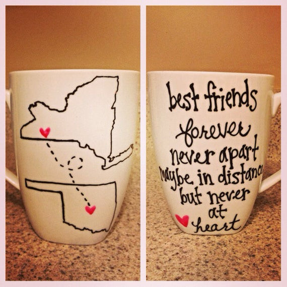 Gift Ideas For Couple Friends  Long Distance State or Country Friends Couple Mugs Set of Two