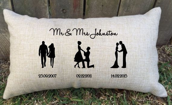 Gift Ideas For Couple Friends  SILHOUETTE TIMELINE couples pillow perfect for bridal