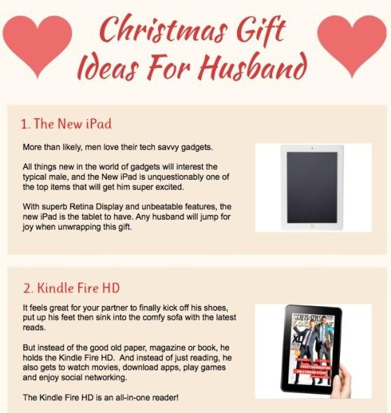 Gift Ideas For Husband For Christmas  Top 5 Christmas Gift Ideas Infographics