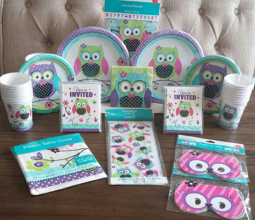 Girls Birthday Party Favors  Pretty OWL Girl Birthday Premium Kit Serves 16 Party