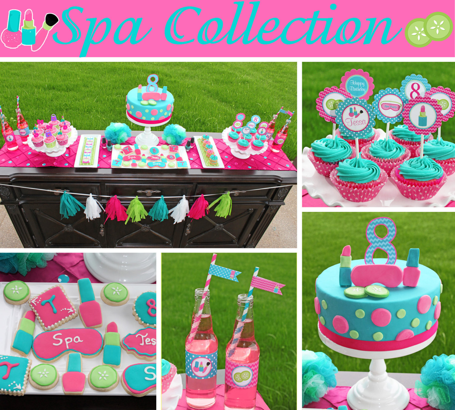Girls Birthday Party Favors  Spa food labels girls Birthday Party PRINTABLE pedi manicure