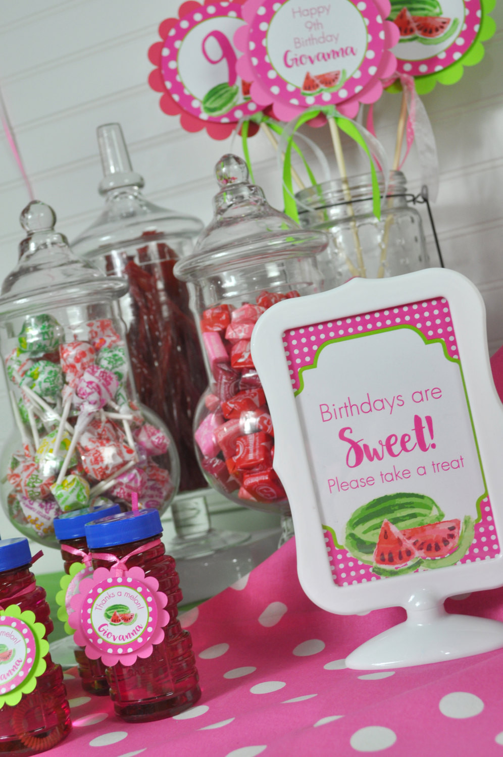 Girls Birthday Party Favors  Watermelon Party Favor Tags Thank You Tags Party Favors