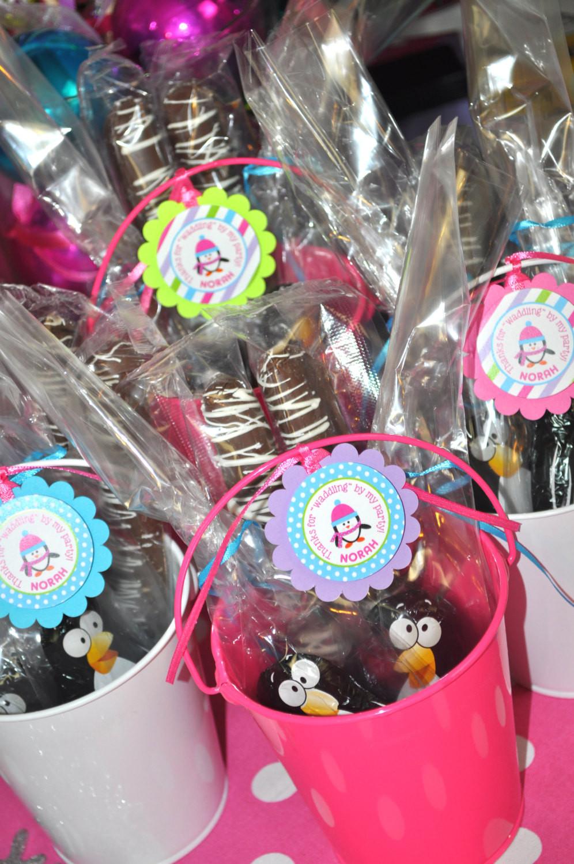 Girls Birthday Party Favors  Girl Penguin Birthday Favor Tags – Winter ederland