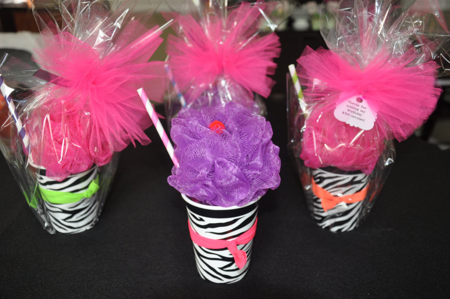 Girls Birthday Party Favors  Girls Spa Party Favor Bath Puff Smoothie filled with Nail