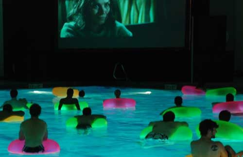 Glow Pool Party Ideas  Movie in the pool Glow lights in float tubes