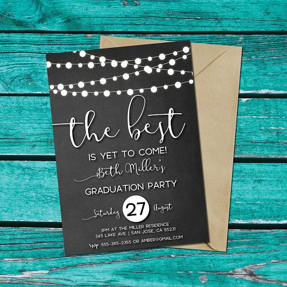 Graduation Party Invitations Ideas  Graduation Party Invitation chalkboard background string