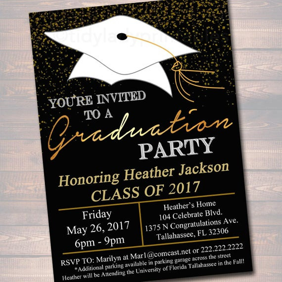 Graduation Party Invitations Ideas  EDITABLE Graduation Party Invitation High School Graduation