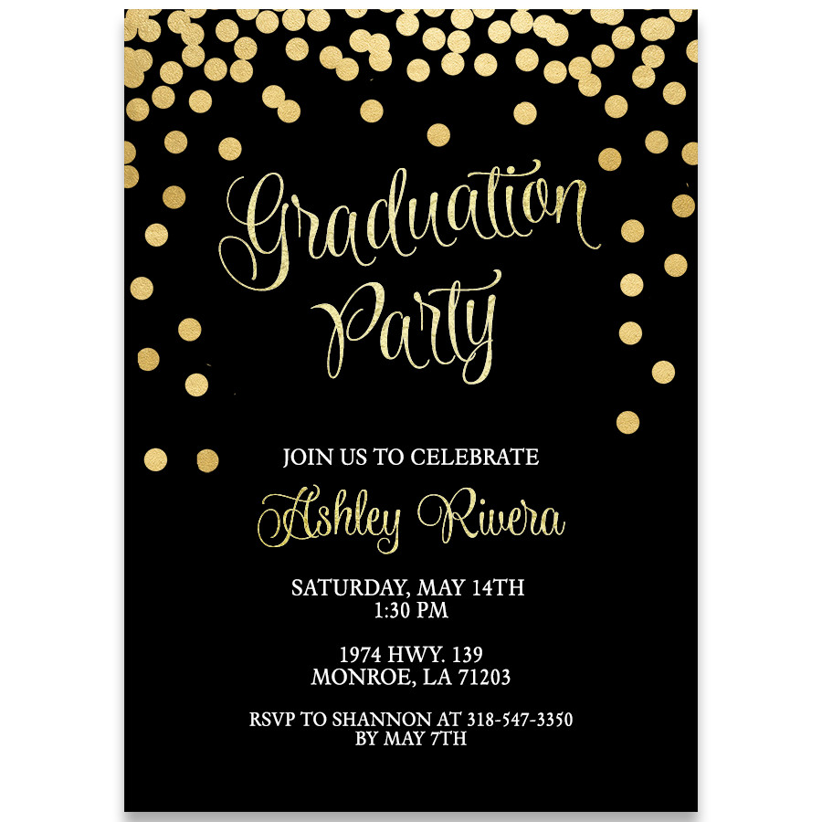 Graduation Party Invitations Ideas  Glitter and Gold Graduation Party Invitation