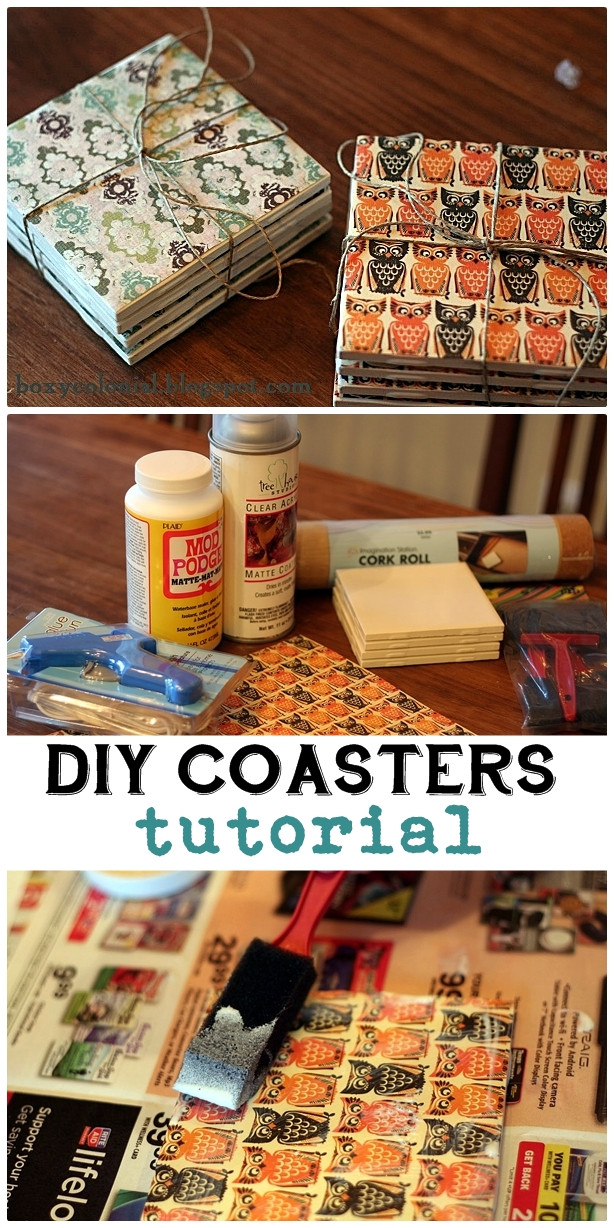 Great DIY Christmas Gifts  Making coasters from inexpensive tile and scrapbook paper