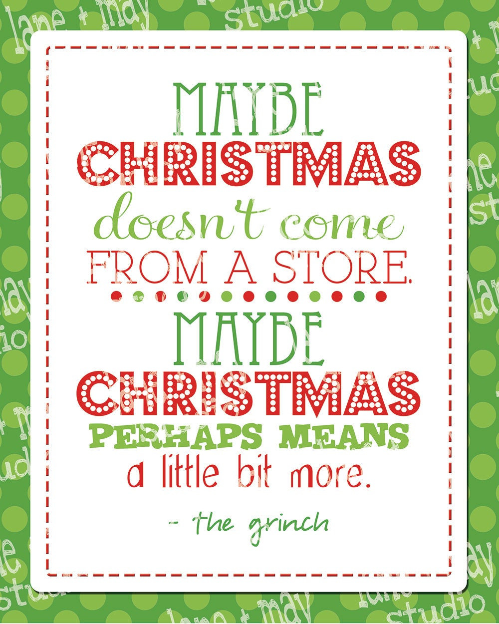 Grinch Christmas Quote  christmas grinch quote 8 x 10 digital print INSTANT by