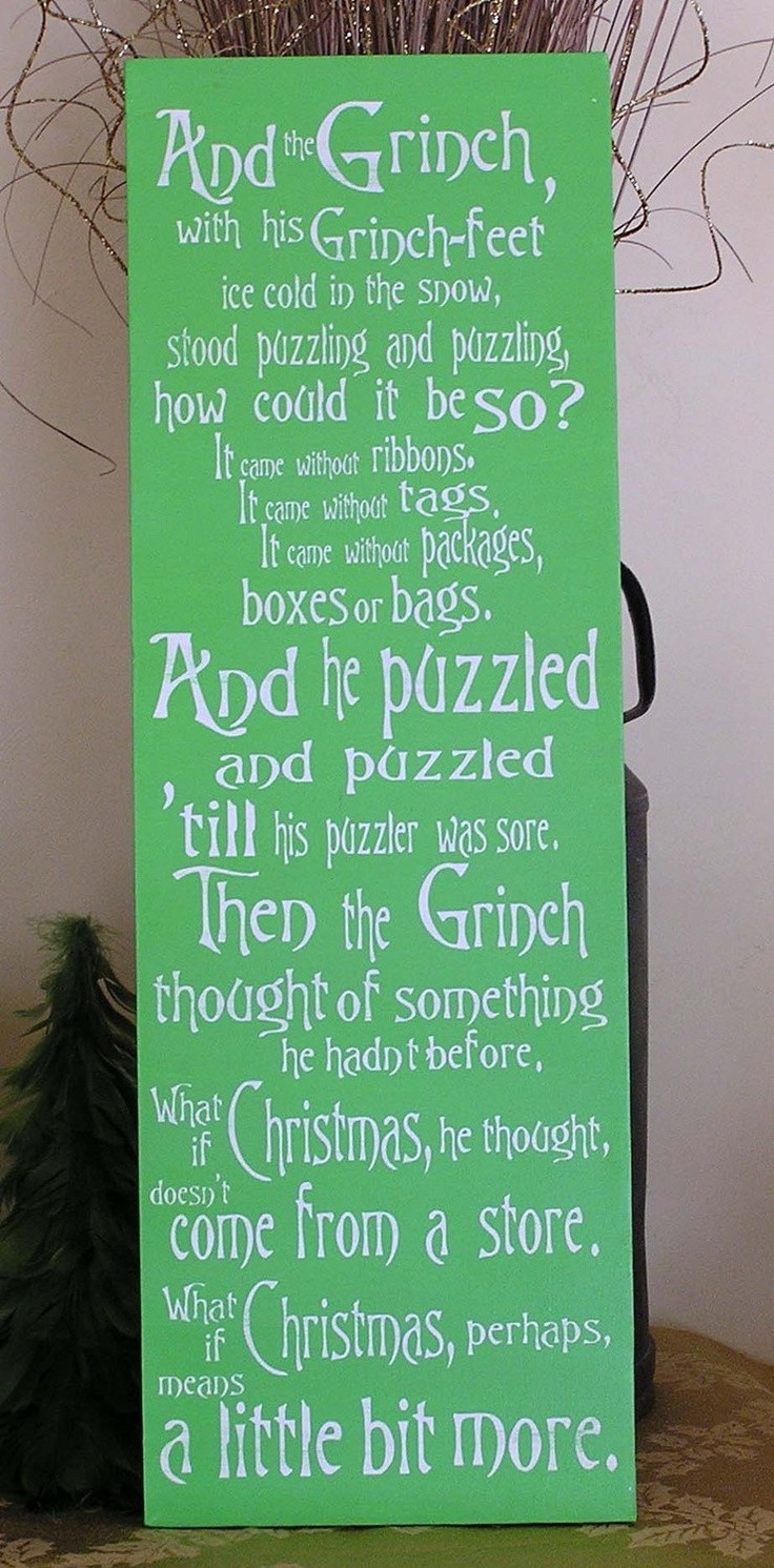 Grinch Christmas Quote  Grinch Fun Expressive Word Canvas wall decor Christmas