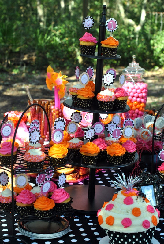 Halloween Bday Party Ideas  Halloween Inspired Pink Orange & Black Polka Dot 1st