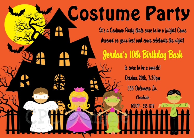Halloween Costume Birthday Party Ideas  Halloween Costume Party Invitations Printable or Printed